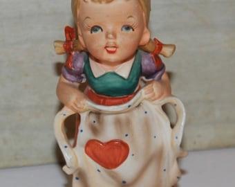 Hummel Style Porcelain Figurine - Mothers Helper - 1950s -Japan- #3008K- Vintage -Collectibles- Home Decor- Mothers Day Gift- Apron- Kitchen