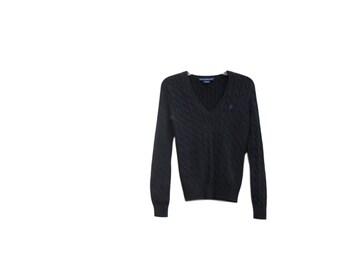 Chunky Sweater / Black / V Neck / Cable Knit / 1990s / Ralph Lauren Sport / Cotton / Medium