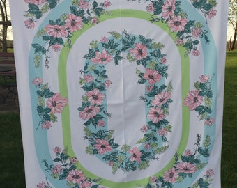 Vintage Printed Tablecloth,  Pink Green Blue Floral Pastel,  1950's Cotton Summer 50 x 62 rectangle
