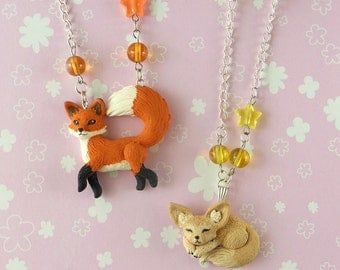 Red Fox and Fennec Necklace - Fox Jewelry - Fennec Necklace - Fox Necklace - Fennec Jewelry - Polymer Clay Jewelry