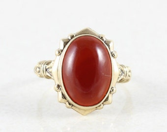 14k Solid Yellow Gold Carnelian Ring Antique Ring Victorian Ring Size 6