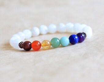 7 Chakra Bracelet, Moonstone Wrist Mala Beads, Womens Mens Yoga Bracelet, Prayer Beads, Chakra Healing Jewelry, Energy Jewelry