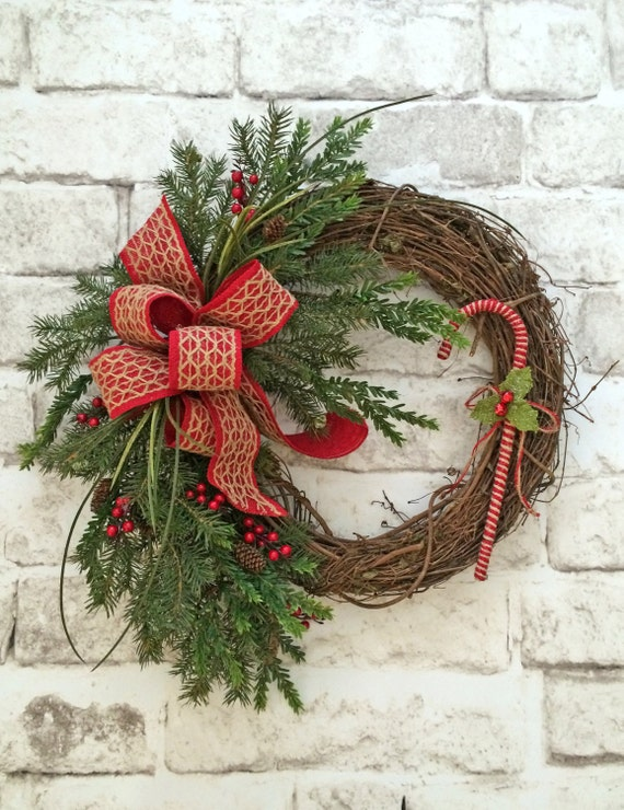 Candy cane wreath christmas wreath for front door front door for How to make christmas door wreaths
