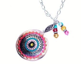 Mandala Pendant Necklace Funky Colorful Bohemian Hippie Jewelry FREE SHIPPING