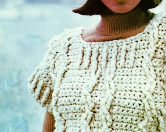 Chunky Cable Top and Hat Vintage Crochet Pattern Download