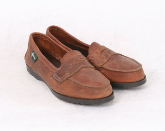Eastland Womens US 10 M Tan Brown Nubuck Leather Penny Loafers Flats AU 9 Vintage Shoes