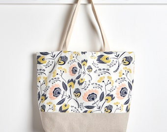 Reusable Grocery Bag in Flora, Market Tote Bag, Farmers Market Bag, Packable Tote by Made on Main VT
