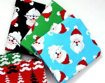 Merry Mustaches Santas  - Caleb Gray for Robert Kaufman Fabrics  CHOOSE YOUR COLOR
