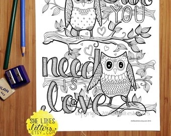 Owl You Need Is Love Coloring Page Book Owls On Branches Kids Digital Download Printable