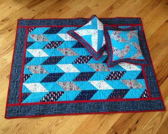 Southwestern Quilt Set, Blue Crib Quilt with Pillows, Bright Turquoise Bedding with Tribal Accents