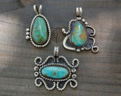 Green King's Manassa Turquoise Sterling Silver Necklace Pendant // Turquoise Pendant // Green Turquoise // Navajo Style
