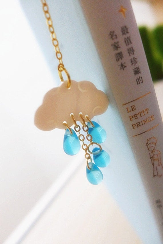 Rainy Day Cloud Bookmark, Cute Bookmark, Graduation Gifts for Readers, Rain Metal Bookmark Unique Bookmarks Weather Planner Bookmark for her