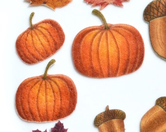 Edible Pumpkins Autumn Orange Wafer Paper Rustic Thanksgiving Cupcake Toppers Fall Squash Pie Wedding Cake Decorations Harvest Festival