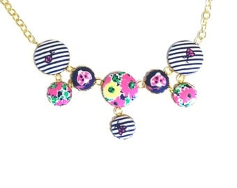 Lilly Pulitzer Ain't No Lady Fabric Covered Button Statement Necklace