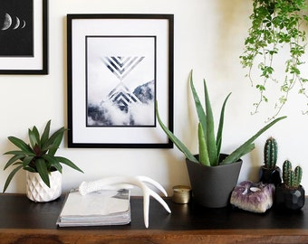 Geometric Mountain Print | Indie Eclectic Home Decor Wall Art