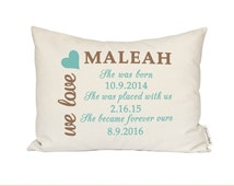 Adoption Pillow, Baby Annoucement, Adopted Baby Shower Gift, Personalized Baby Pillow, First Birthday, Adoptive Parents, New Baby