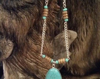 Ladies Turquoise Pendant Necklace, Native American Inspired, Long Necklace