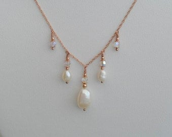 Rose Gold Filled Chain Necklace with Ivory White Freshwater Pearl and Swarovski Crystal Drops
