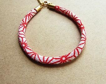 Red + White Asanoha Star Japanese Kimono Cord Bracelet // Turkish Satin Gold Feather Charm // Matte Gold End Caps // Chirimen Cord Bracelet