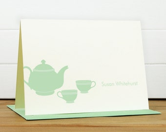 Custom Stationery / Custom Stationary - TEAPOT Custom Notecard Set - Silhouette Tea Pot