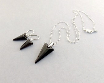 Jet Black Swarovski Necklace Set - Black Spike Necklace Set - Sterling Silver Necklace Set - Swarovski Necklace Set - NS004