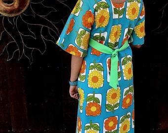 Vintage 1960's Floral Dress, Unique Vintage Dress, 60's Bold Floral Dress, Retro