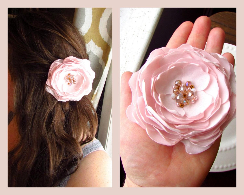 Blush Pink Hair Flower Or Brooch Bridal Wedding: Light Pink Blush Wedding Hair Flower Petal Blush Flower Hair