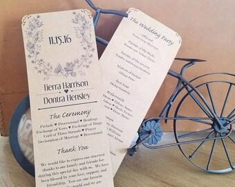 DIY Kraft Paper Wedding Programs - Rustic Floral Wreath Program - Wedding Programs - Fall Winter Wedding Programs - Classic Wreath Programs