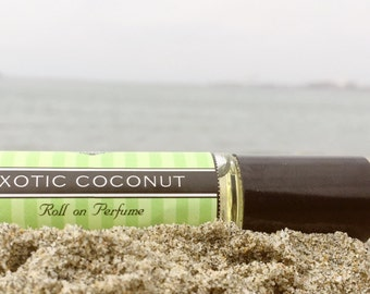 EXOTIC COCONUT scented roll on perfume // Sweet Coconut scent with Amber, Musk, and Vanilla // Birthday Gift for Her