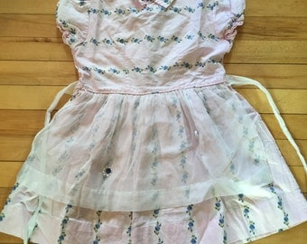 Vintage 1950's Girls Pink Floral Dress with Apron! Size 4-5