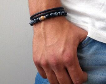 Mens Bracelet set - Mens Beaded bracelets Set - Mens Black Beaded Bracelet - mens bracelet set - stacking bracelet - gemstone bracelet