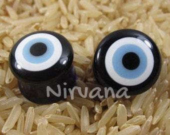 "Pyrex Glass Evil Eye Plugs - 1 Pair (2 Pieces) 2g 0g 00g 7/16"" 1/2"" 9/16"" 5/8"" 3/4"" 1"" 6 mm 8 mm 10 mm 12 mm 14 mm 16 mm 18 mm 20 mm 25 mm"
