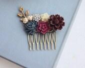 Burgundy Flower Comb, Maroon Hair Comb, Ivory, Maroon and Navy Blue Wedding, Maroon and Dark Blue Flower Hair Piece, Rustic Bridesmaids Gift