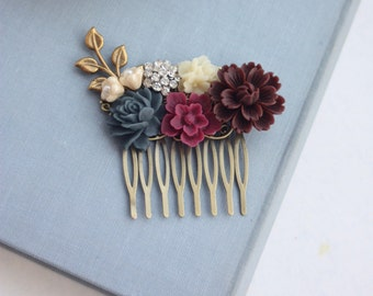 Burgundy Flower Comb, Maroon Hair Comb, Ivory, Maroon and Navy Blue Wedding, Maroon and Dark Blue Flower Hair Piece, Rustic Bridesmaids Gift