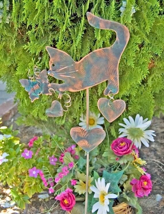 Cat garden stake outdoor metal garden art copper art for Cat yard art