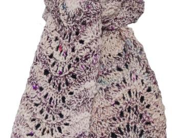 Hand Knit Scarf  - Sugar Plum Hand Spun Wool Silk Feather and Fan