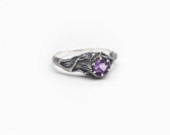 Tree Amethyst Ring Silver, Gemstone Ring, Forest Wedding Jewelry, Amethyst Engagement Ring, Sterling Twigs, Tree Stump, Branches, Woodland