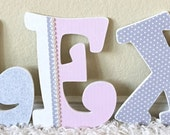 Custom Wooden Nursery Letters, Pink and Gray Girl Nursery Room Decor, Wall Hanging Letters, Personalized Baby Shower Gift-The Rugged Pearl