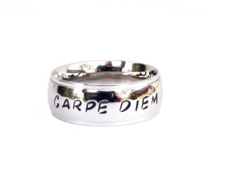 Carpe Diem- Ring Hand stamped  jewelry Inspirational  carpe diem jewelry seize the day