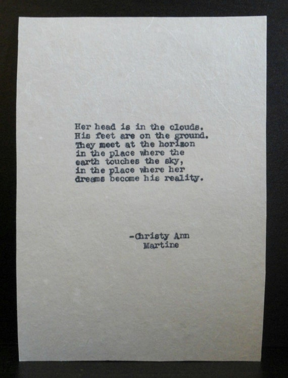 Boyfriend Gift  - Her Head is In The Clouds - Antique Typed Love Poem