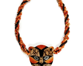RARE Lee Sands Tiger Pendant Necklace - Inlaid Apple Blossom Coral and MOP Shell - Beaded Cat Animal Statement Necklace - Vintage 1970s