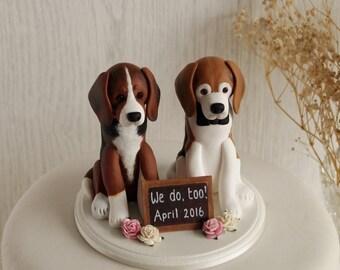 Custom Dog Cake Topper - Two Dog Cake Topper - Dog Wedding Cake Topper - Dog Topper with Sign - Dog Cake Topper - ANY BREED TOPPER