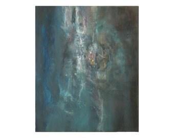 blue teal white Original abstract painting Nebula Galaxy Contemporary vertical dark Artwork Wall art decor office gift for men women her
