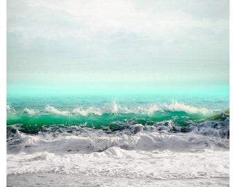 Sea art print, Extra large wall art, Ocean photography, coastal wall art, turquoise water art, vertical seascape, oversized art 30x40, 40x50
