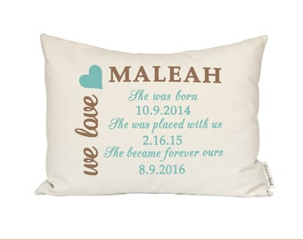 Adoption Pillow, Baby Announcement, Adopted Baby Shower Gift, Personalized Baby Pillow, First Birthday, Adoptive Parents, New Baby