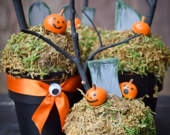 Pumpkin Graveyard (Set of 4) - Halloween Decor - Halloween Party Favors - Halloween Decoration