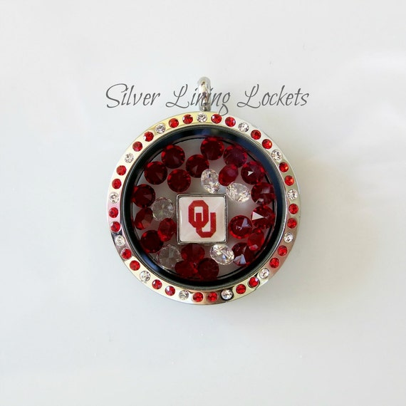 Oklahoma Sooners Basketball Inspired Stainless Steel Crystal Locket- OU Logo Charm, Basketball Charm, Swarovski Crystal Mix and Chain Gift