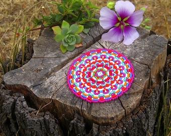 Beading Pattern – Pink Beaded Coaster Tutorial – Beading Tutorial – Toho Seed Beads – Beadwork – PDF Pattern