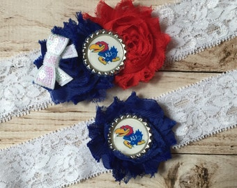 Kansas Jayhawks inspired wedding garter set University of Kansas