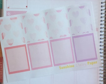 Watercolor Hearts Collection Erin Condren transparent full box planner stickers!